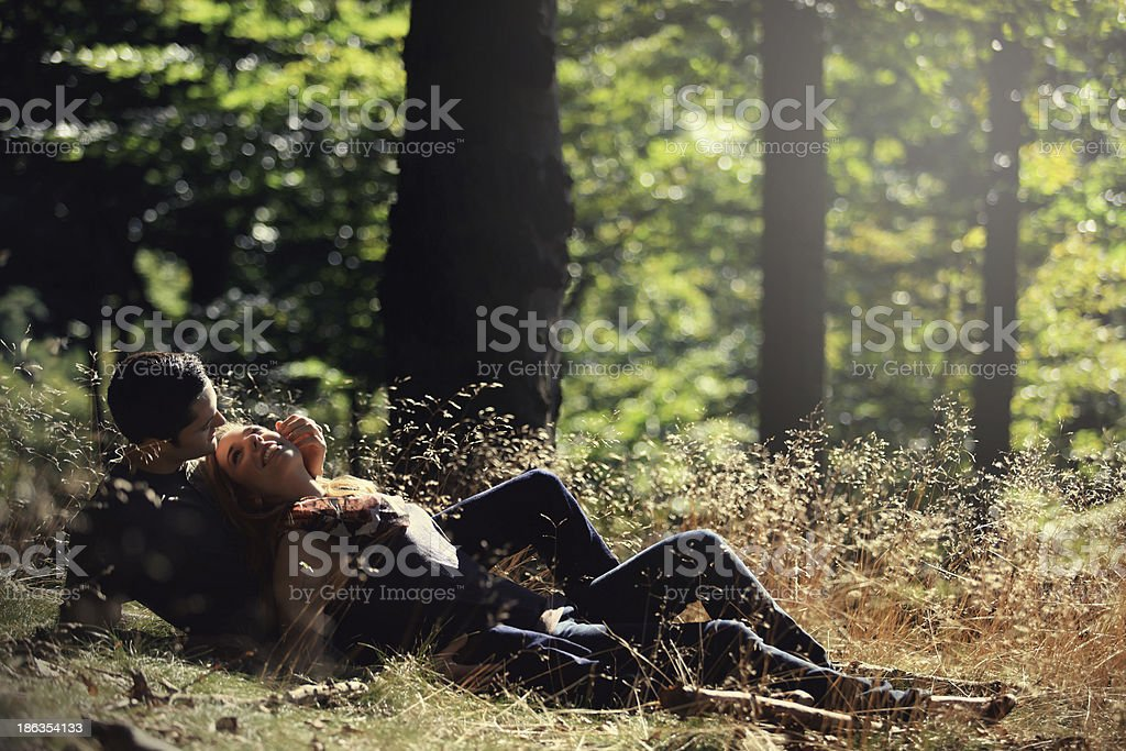 loving couple in the forest royalty-free stock photo