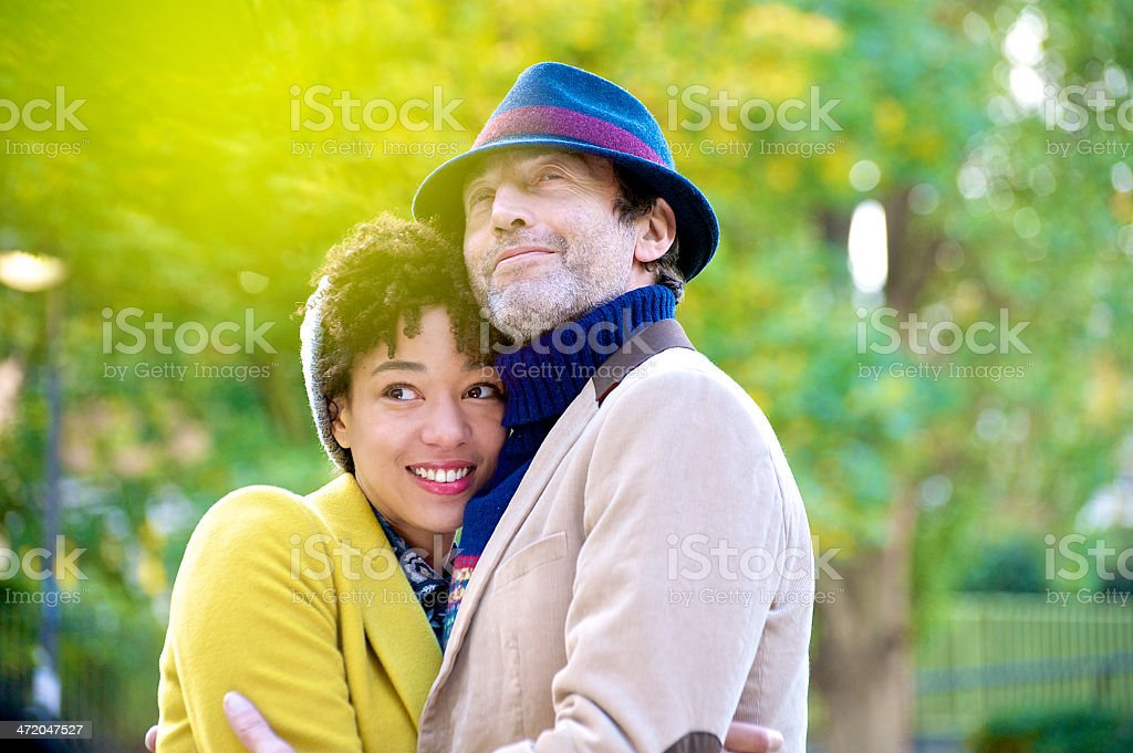 Loving couple in the park stock photo