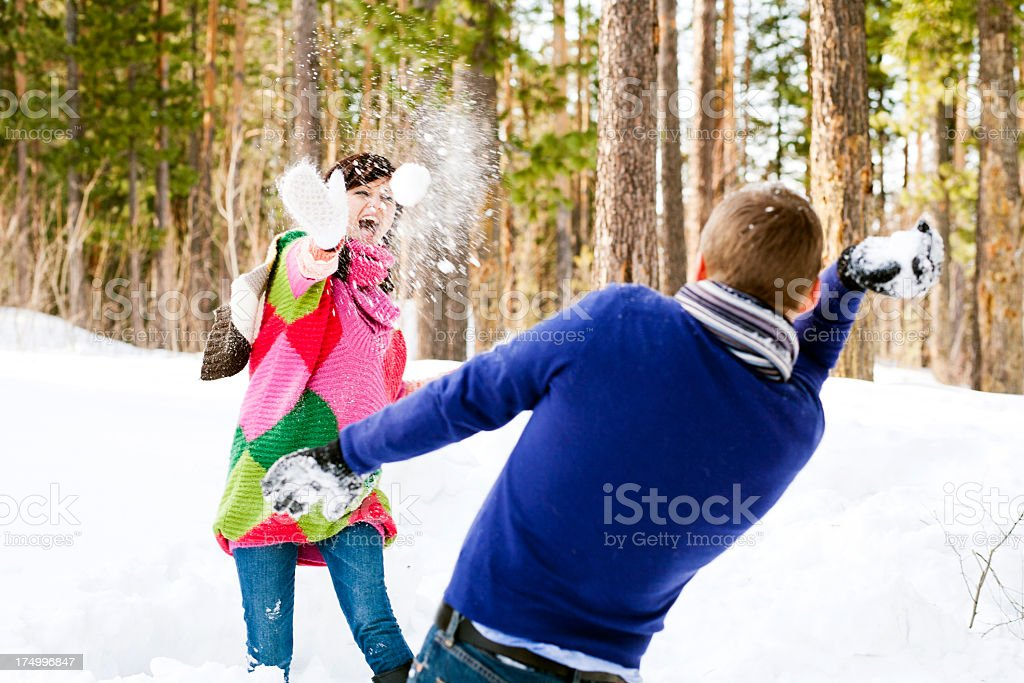 loving couple in the winter forest royalty-free stock photo