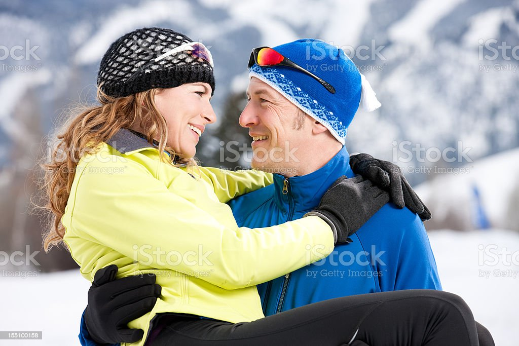 Loving Couple in Winter Outdoors royalty-free stock photo
