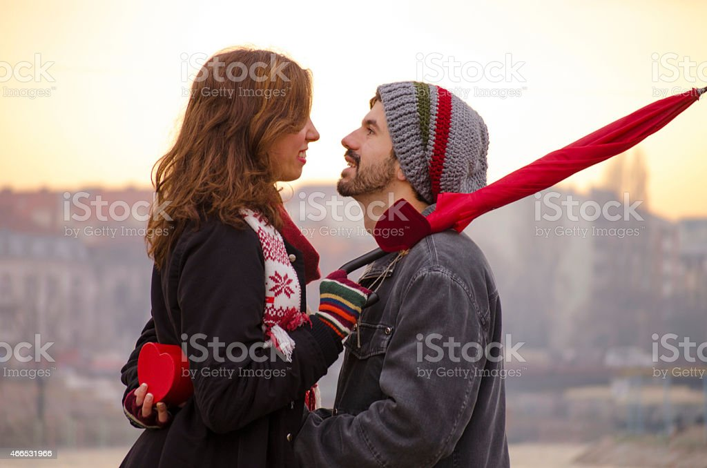 Loving couple looking at each others eyes royalty-free stock photo