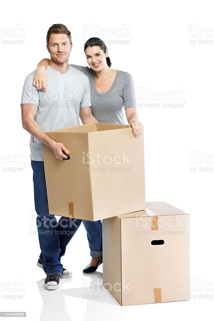 Loving couple moving house stock photo