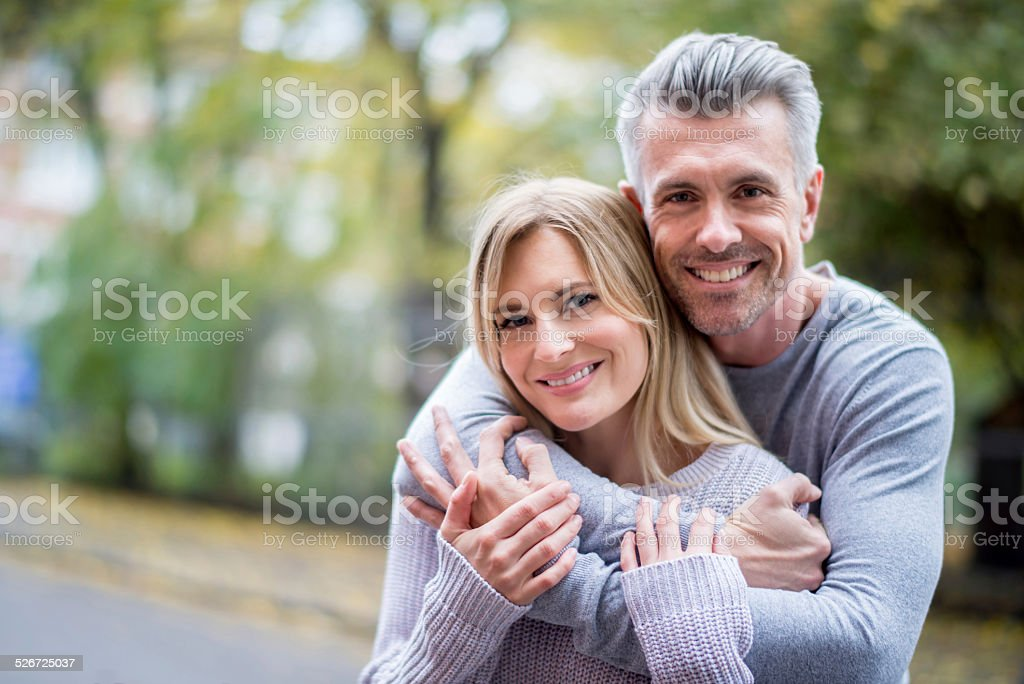 Loving couple outdoors stock photo