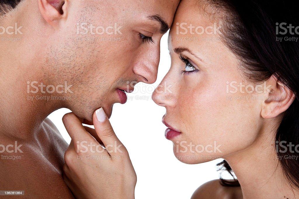 Loving couple ready to kiss royalty-free stock photo