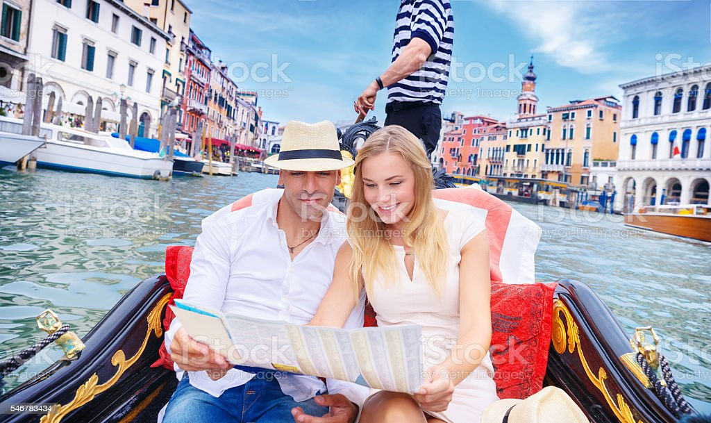 Loving couple traveling to Venice stock photo