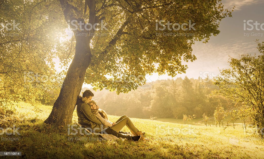 Loving couple under a big tree in the park ,autumn stock photo