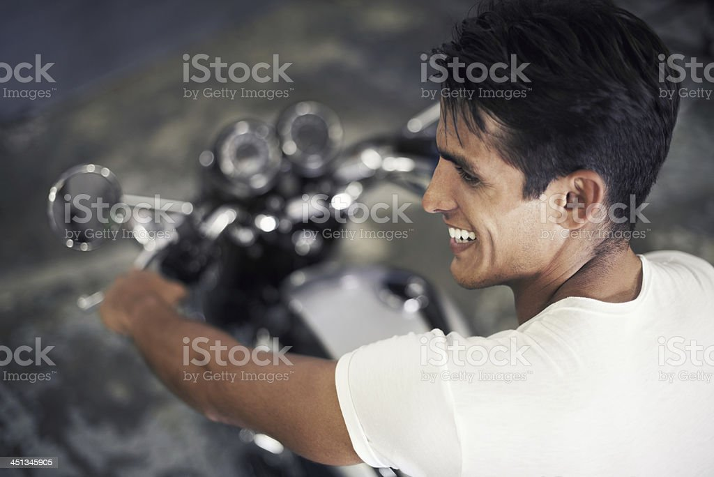Loving every minute of his new lifestyle stock photo