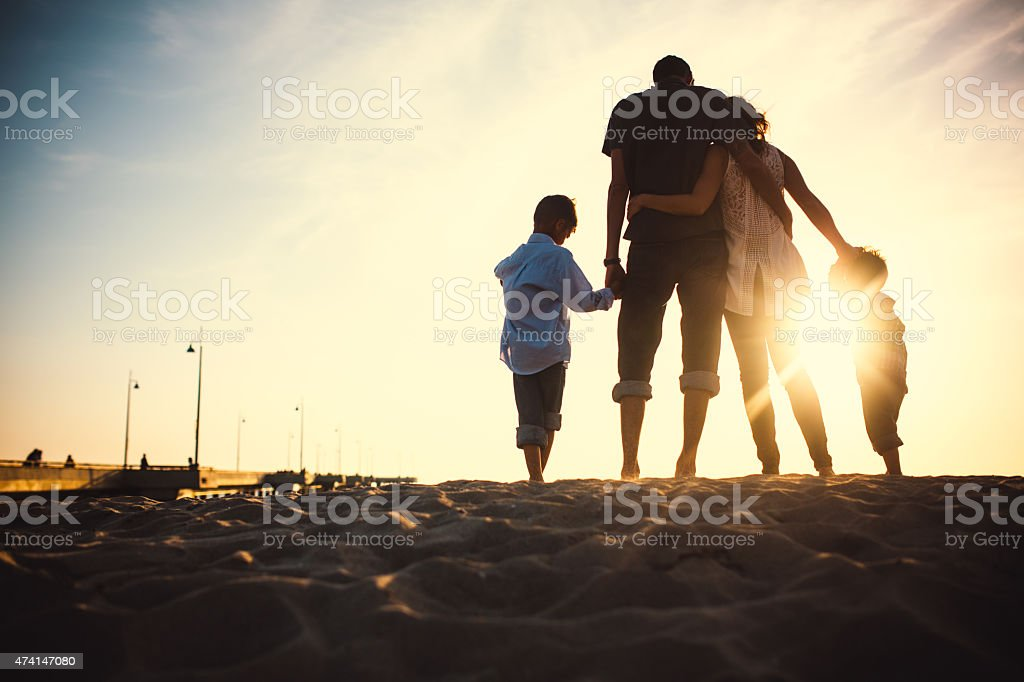 Loving Family at Venice Beach stock photo
