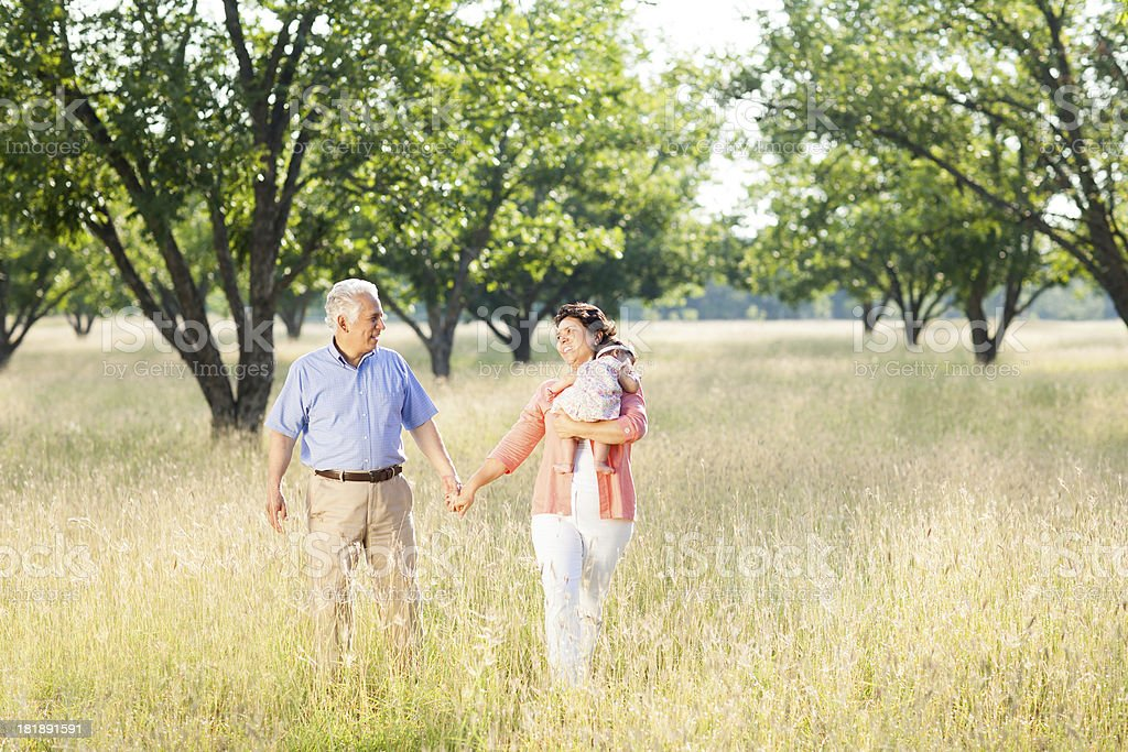 Loving grandparents holding their baby granddaughter royalty-free stock photo