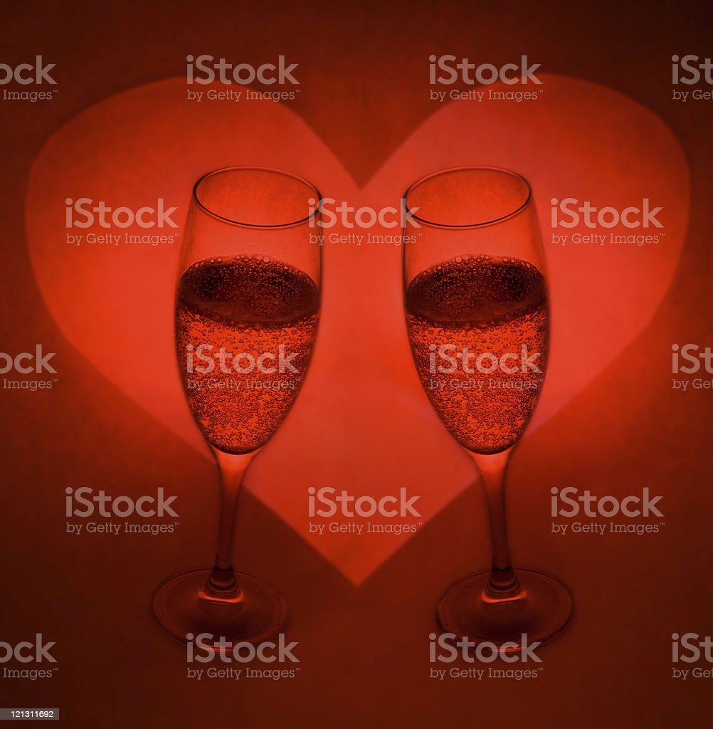 Loving Heart and Champagne for Two royalty-free stock photo