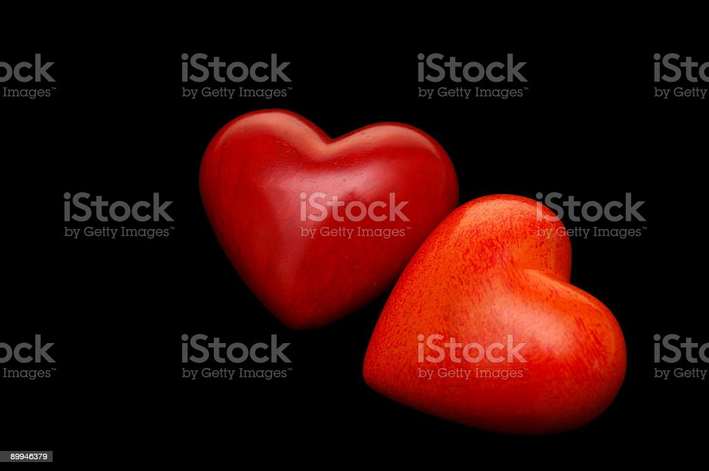 Loving Hearts on Black stock photo