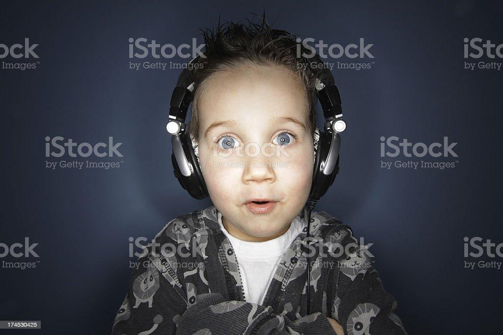 Loving his music stock photo