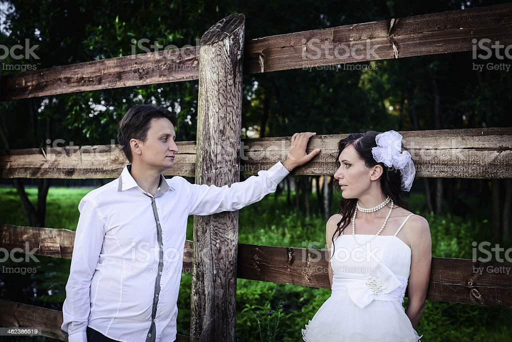 loving husband and the wife in village at wedding royalty-free stock photo