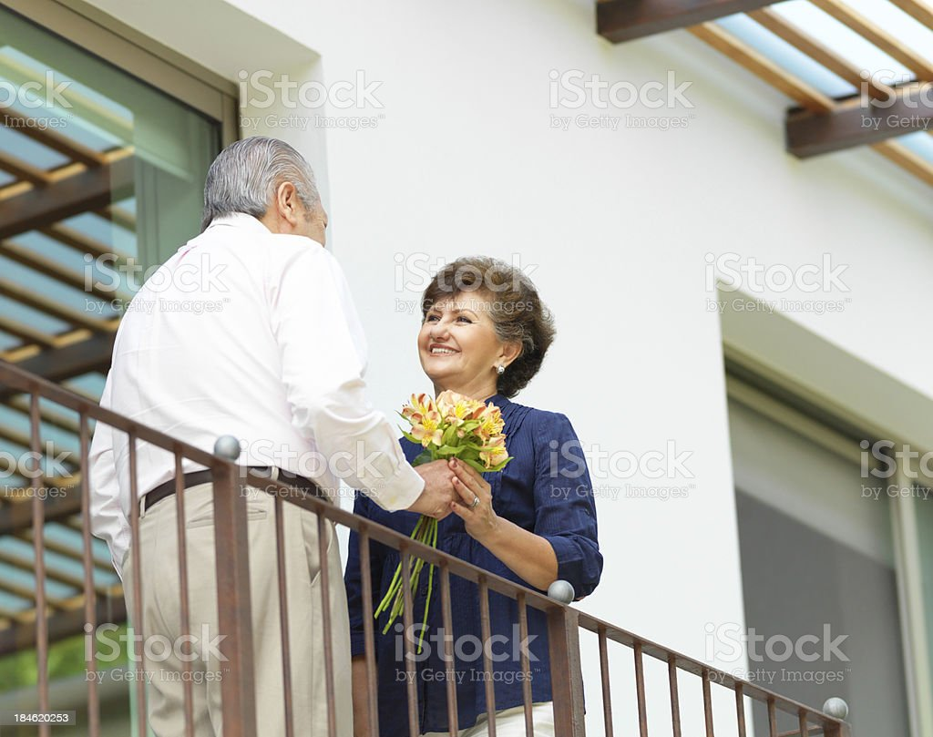 Loving husband giving flowers to his wife royalty-free stock photo