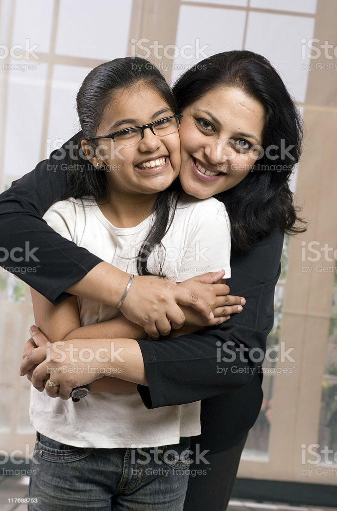 Loving Indian Mother and Daughter royalty-free stock photo