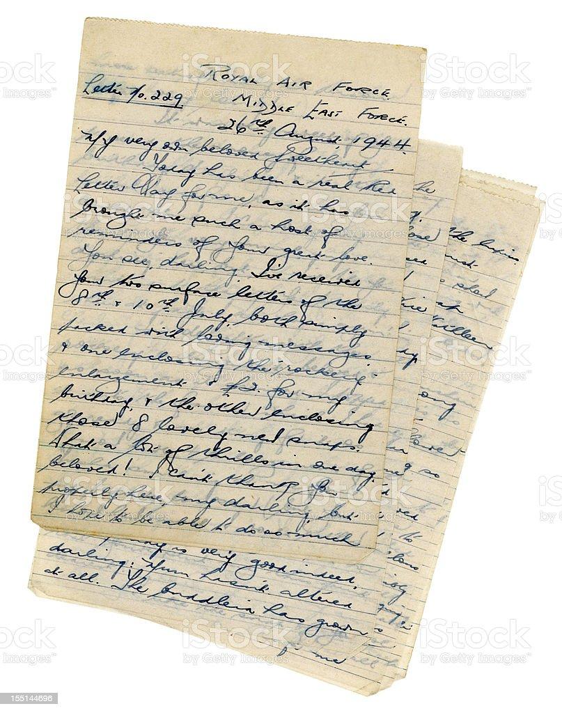 Loving letter from British RAF serviceman, 1944 stock photo