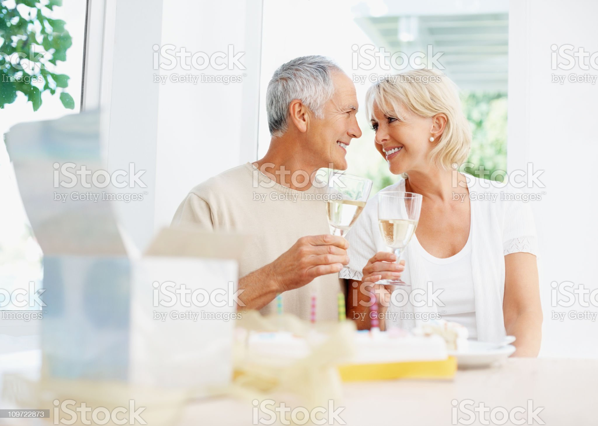 Loving mature couple toasting in wine at birthday party royalty-free stock photo