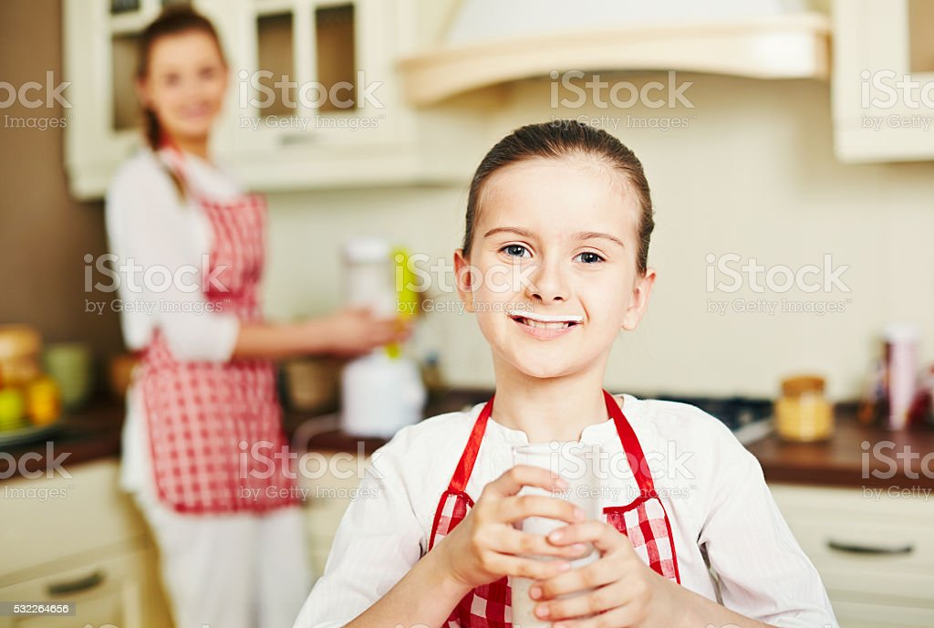Loving milk stock photo