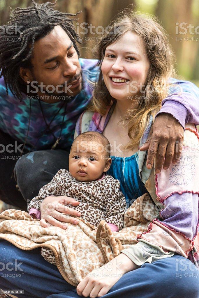Loving mixed race family stock photo