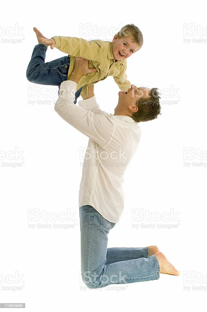 Loving moment between father and son at play royalty-free stock photo