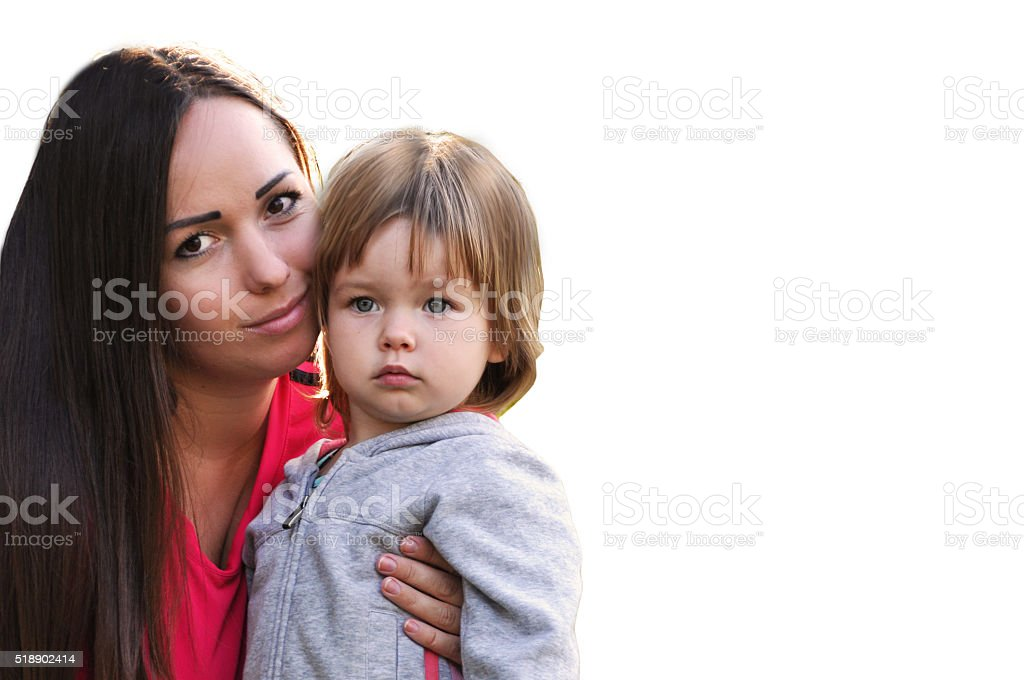 Loving mother and daughter on a white background stock photo