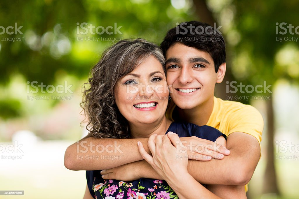 Loving mother and son stock photo
