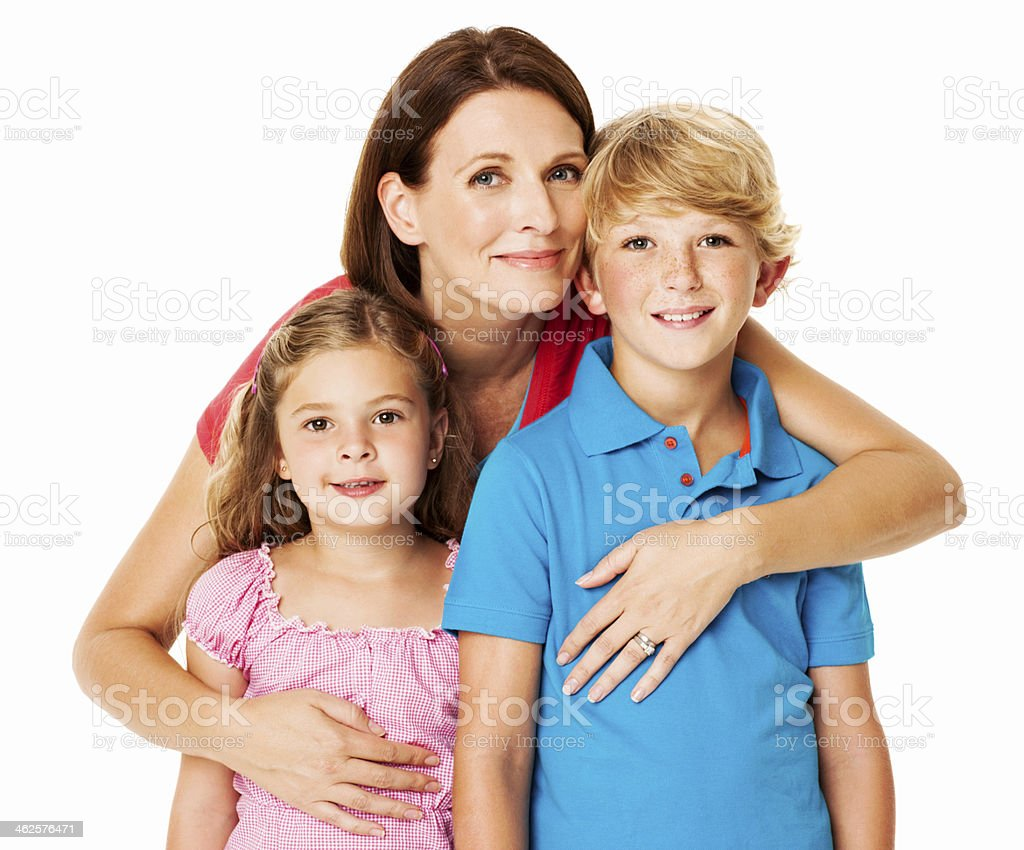Loving Mother With Her Kids - Isolated royalty-free stock photo