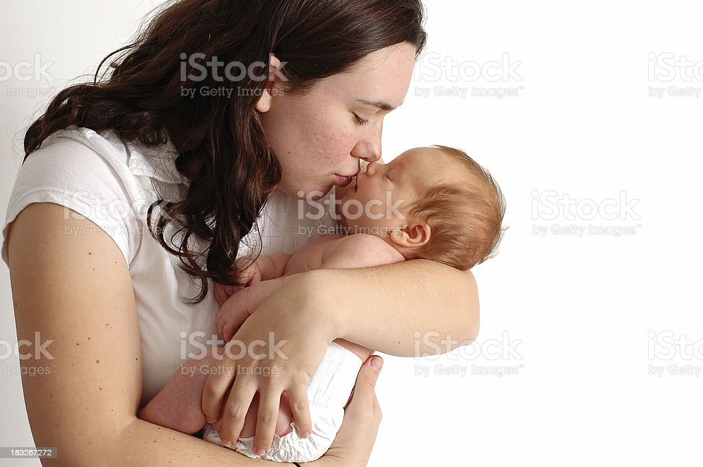 Loving Mother's Kiss (Room for Text) - Color royalty-free stock photo