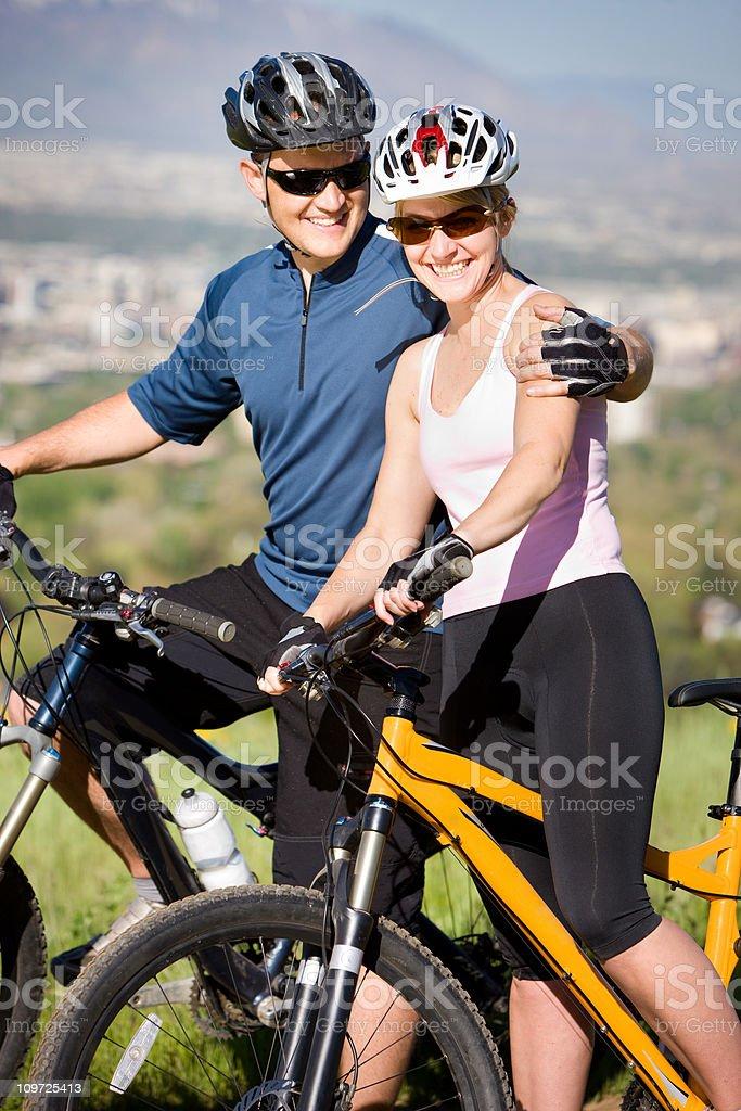 Loving Mountain Biking Couple Portrait royalty-free stock photo