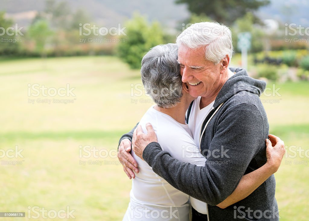 Loving retired couple stock photo