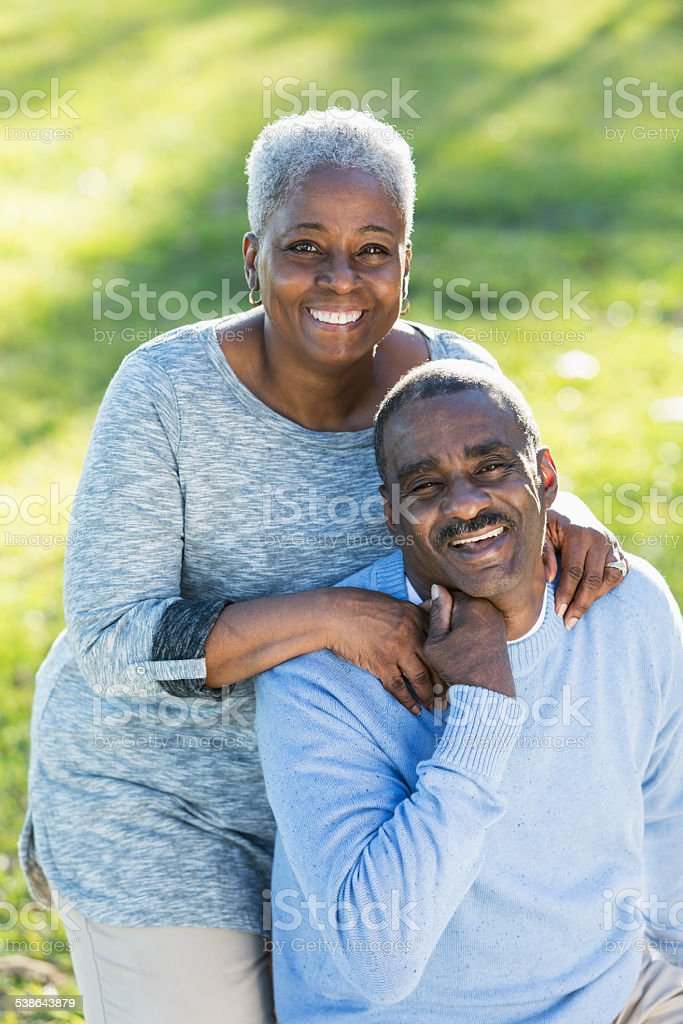 Loving senior African American couple stock photo
