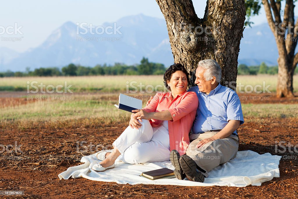 Loving senior couple in nature royalty-free stock photo