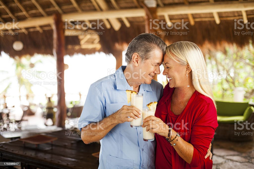 Loving Senior couple on vacations stock photo
