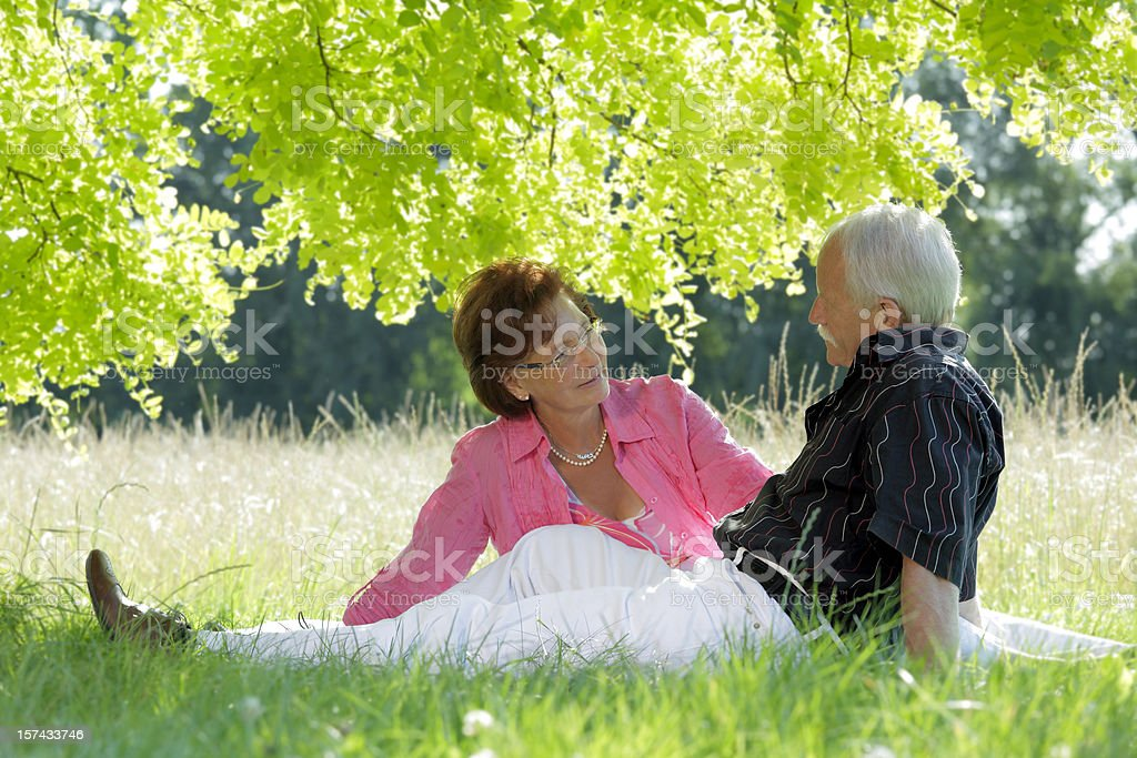 Loving senior couple sitting in grass under tree canopy (XXL) royalty-free stock photo