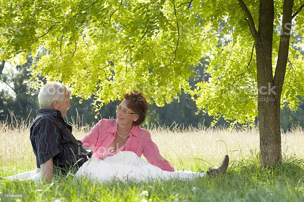 Loving senior couple sitting in grass under tree canopy royalty-free stock photo
