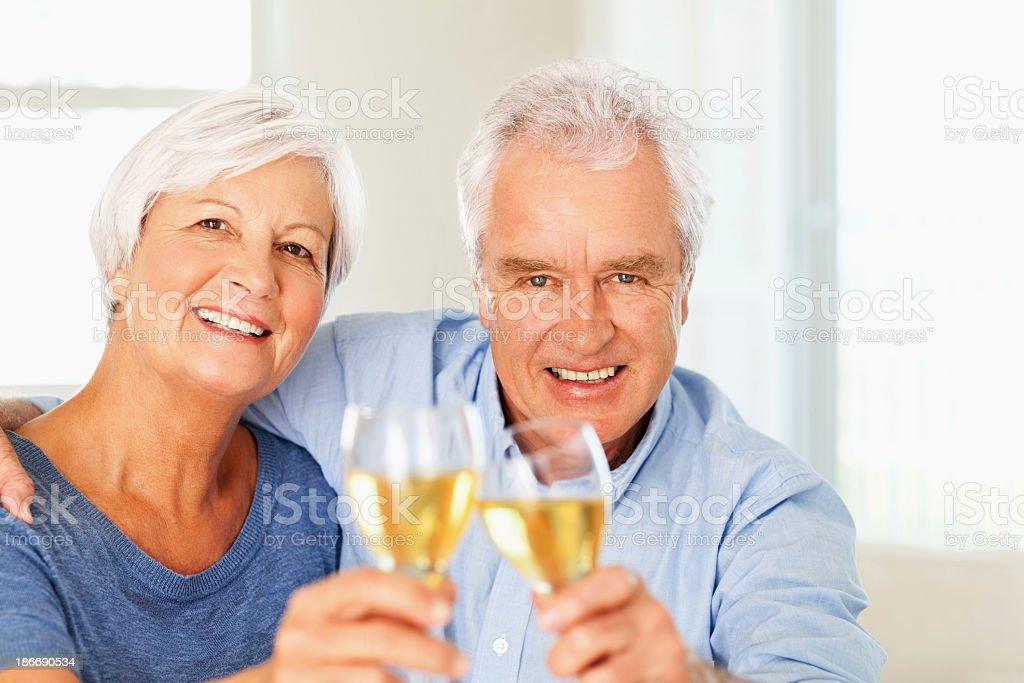 Loving Senior Couple Toasting Wineglasses At Home royalty-free stock photo