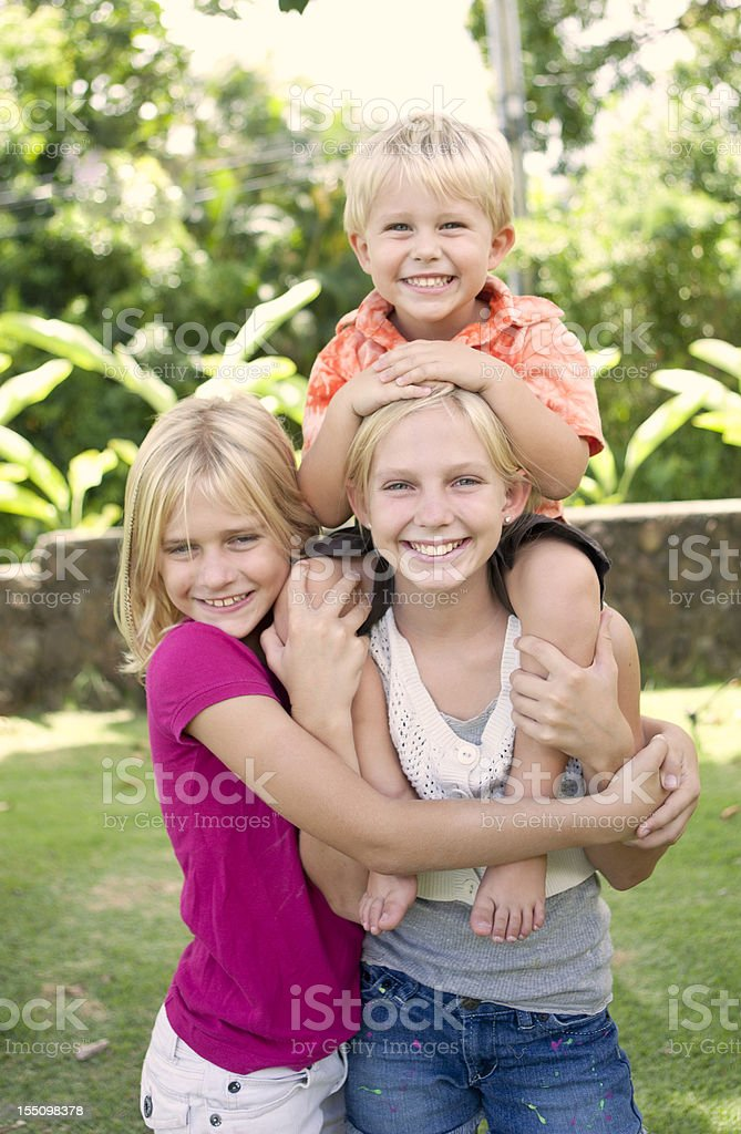 Loving siblings stock photo