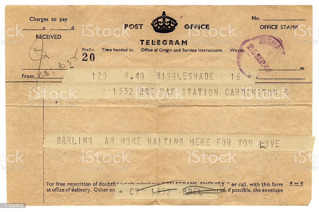 Loving telegram to RAF Cardington, 1942 stock photo