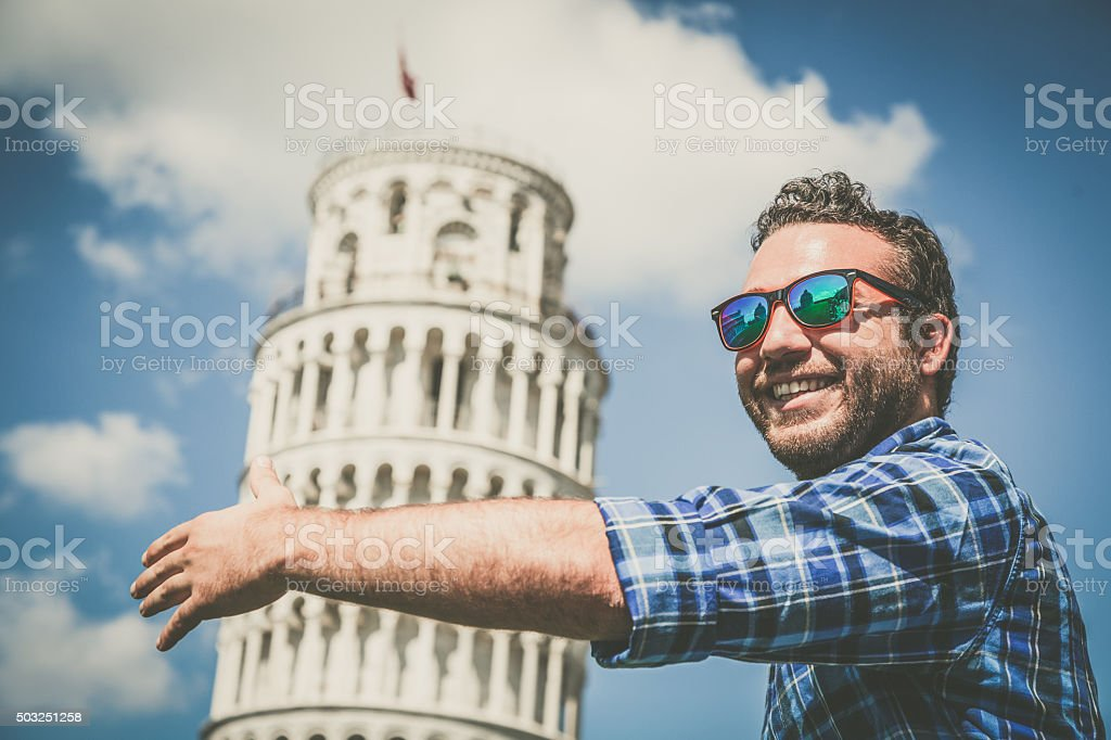Loving the leaning tower of Pisa stock photo