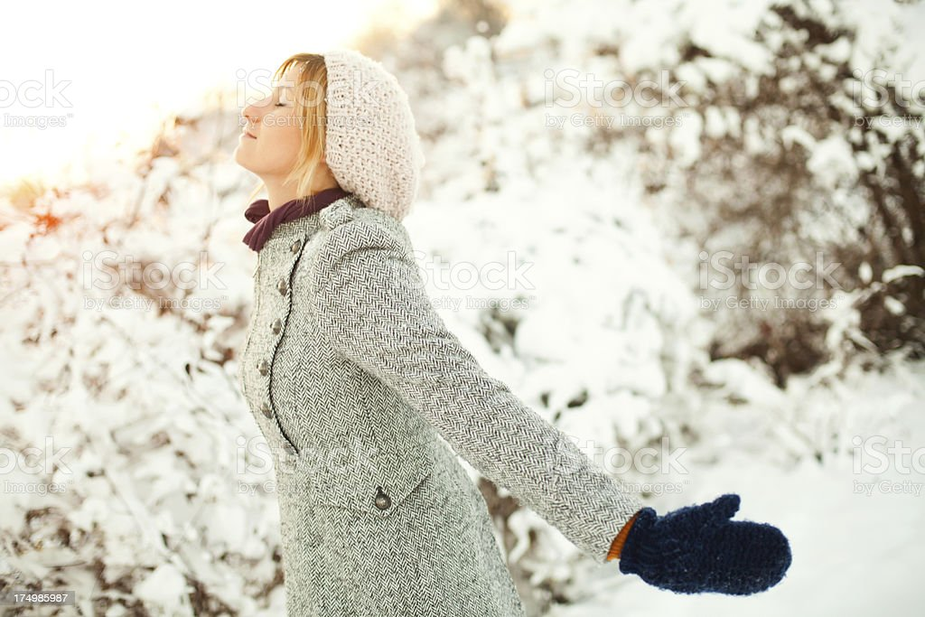 Loving the winter royalty-free stock photo