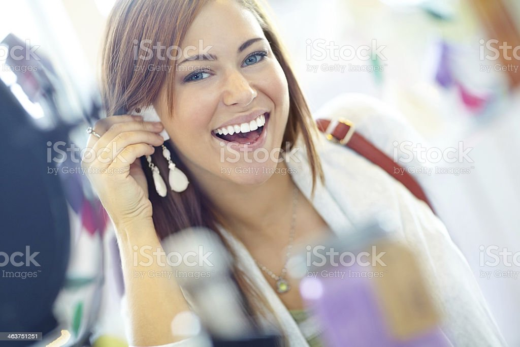 Loving these earrings! stock photo