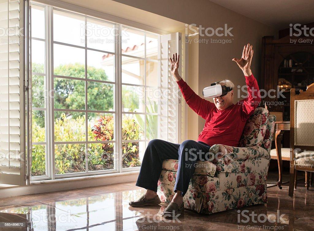 Loving this virtual reality thing stock photo
