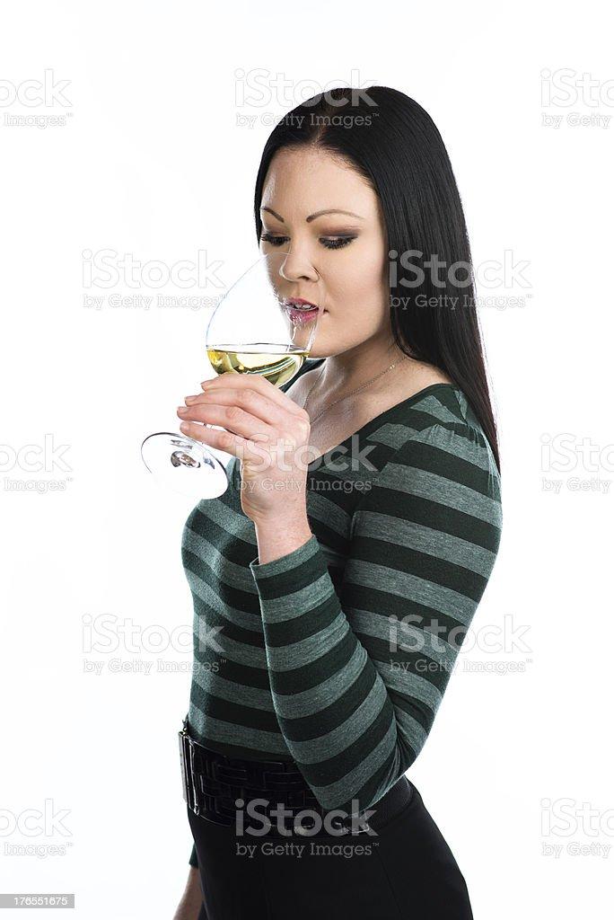 Loving white wine royalty-free stock photo
