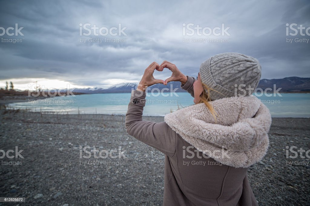 Loving winter in New Zealand stock photo