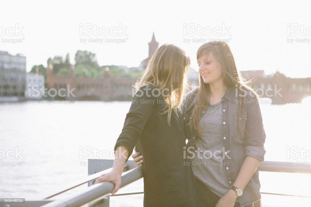 loving women couple in Berlin stock photo