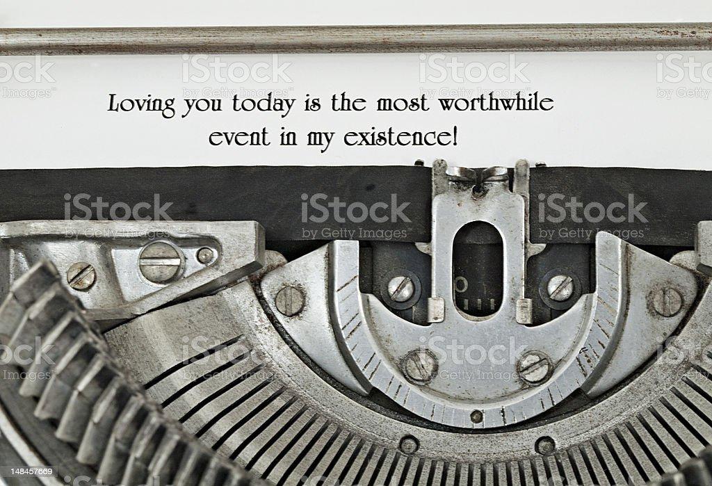 Loving you Today Typed on 1940 Typewriter Closeup stock photo