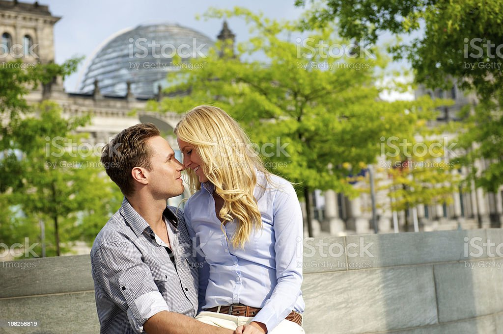 Loving young couple, Berlin, Germany stock photo