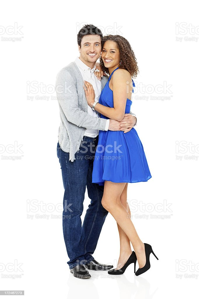 Loving young couple embracing on white royalty-free stock photo