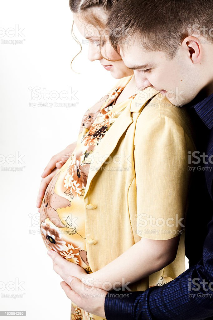 loving young couple expecting royalty-free stock photo