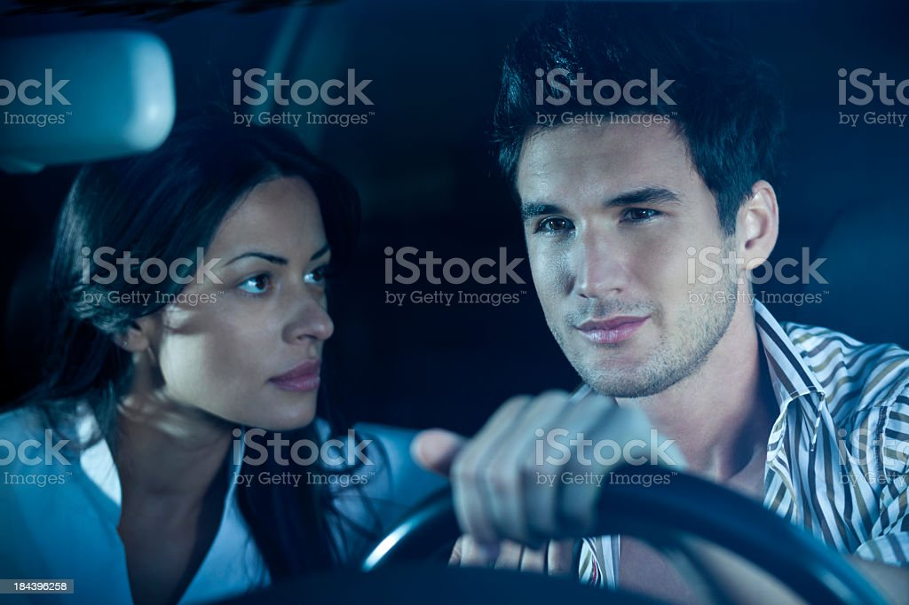 Loving Young Couple In The Car royalty-free stock photo